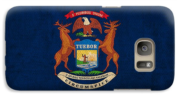 Michigan State Galaxy S7 Case - Michigan State Flag Art On Worn Canvas by Design Turnpike