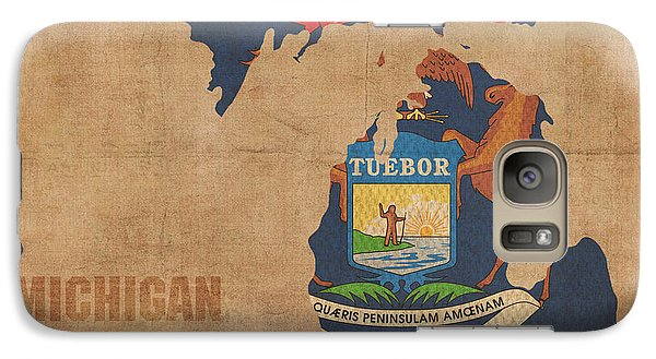 Michigan State Galaxy S7 Case - Michigan State Flag Map Outline With Founding Date On Worn Parchment Background by Design Turnpike
