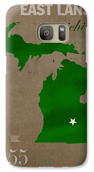 Michigan State University Spartans East Lansing College Town State Map Poster Series No 004 Galaxy S7 Case
