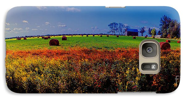 Galaxy Case featuring the photograph Michigan Uper  Farm Barn And Rolls Of Hay Brimly Michigan by Tom Jelen