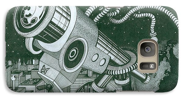 Galaxy Case featuring the drawing Microscope Or Telescope by Richie Montgomery