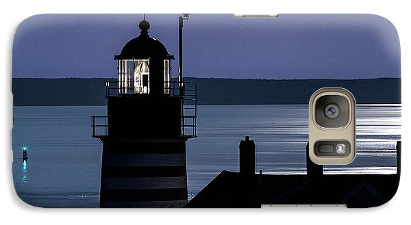Galaxy Case featuring the photograph Midnight Moonlight On West Quoddy Head Lighthouse by Marty Saccone