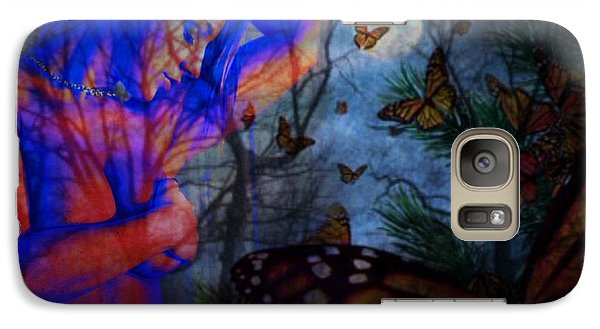 Galaxy Case featuring the digital art Midnight Nude With Butterflies by Diana Riukas