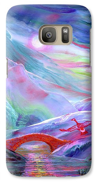 Galaxy Case featuring the painting   Midnight Silence, Flying Goose by Jane Small