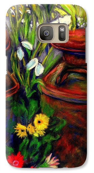 Galaxy Case featuring the pastel Milk Cans At Flower Show Sold by Antonia Citrino