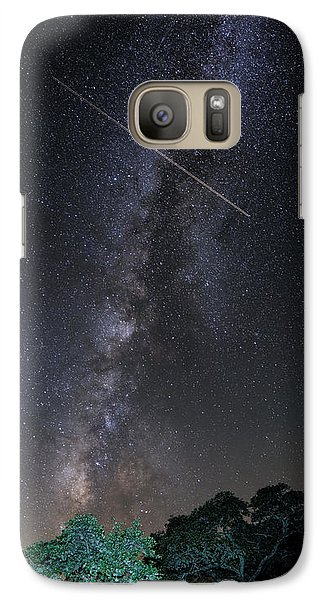 Milky Way Vertical Panorama At Enchanted Rock State Natural Area - Texas Hill Country Galaxy S7 Case by Silvio Ligutti