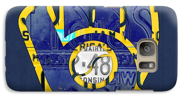 Milwaukee Brewers Vintage Baseball Team Logo Recycled Wisconsin License Plate Art Galaxy S7 Case by Design Turnpike