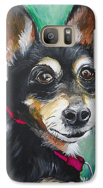 Galaxy Case featuring the painting Miniature Pincher by Leslie Manley