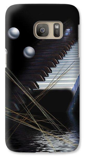 Galaxy Case featuring the digital art Minimalism Piano by Angel Jesus De la Fuente