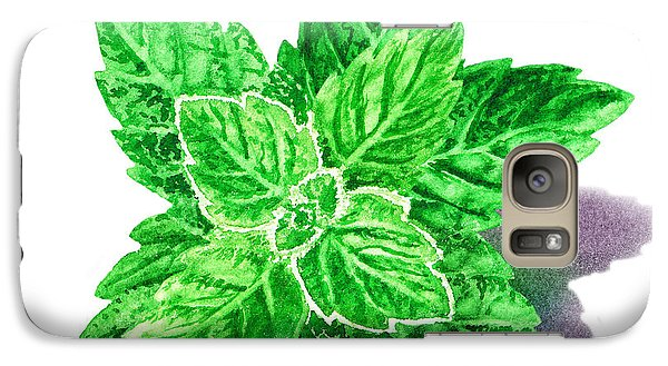 Galaxy Case featuring the painting Mint Leaves by Irina Sztukowski