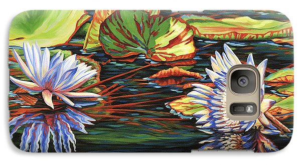 Galaxy Case featuring the painting Mirrored Lilies by Jane Girardot