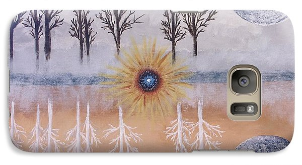 Galaxy Case featuring the painting Mirrored Worlds  by Cynthia Morgan