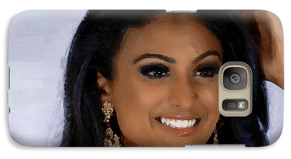 Galaxy Case featuring the painting Miss America 2014 - Nina Davuluri by Wayne Pascall