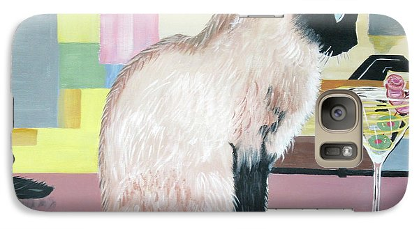 Galaxy Case featuring the painting Miss Kitty And Her Treat by Phyllis Kaltenbach
