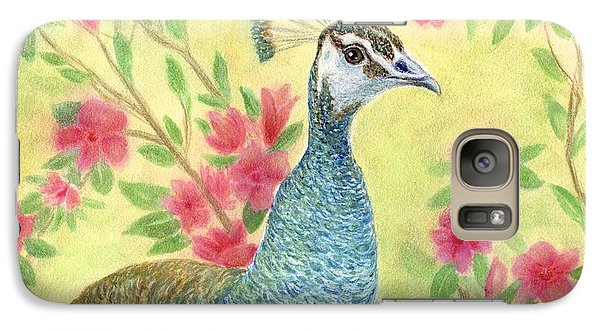 Galaxy Case featuring the painting Miss Peahen In The Garden by Jeanne Kay Juhos