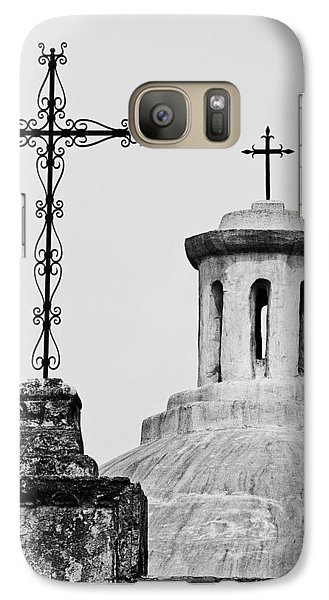 Galaxy Case featuring the photograph Mission Concepcion Crosses by Andy Crawford