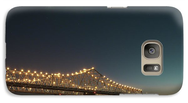 Galaxy Case featuring the photograph Mississippi Bridge Moonlight by Ray Devlin
