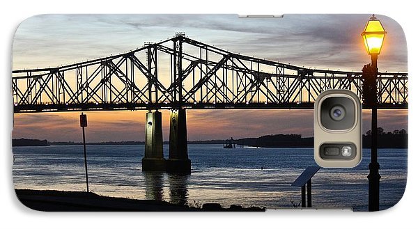 Galaxy Case featuring the photograph Mississippi River Bridge Natchez Sunset by Jim Albritton
