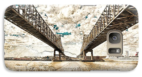 Galaxy Case featuring the photograph Mississippi River Bridge Twin Spans by Ray Devlin