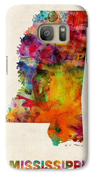 Mississippi Watercolor Map Galaxy Case by Michael Tompsett