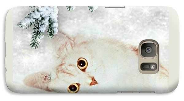Galaxy Case featuring the mixed media Mistletoe In The Snow by Morag Bates