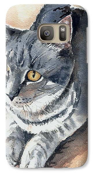 Galaxy Case featuring the painting Misty Taking Over My Desk by Lynn Babineau