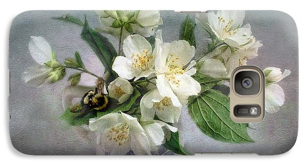 Galaxy Case featuring the photograph Sweet Mock Orange Blossom Bouquet With Bumble Bee  by Louise Kumpf