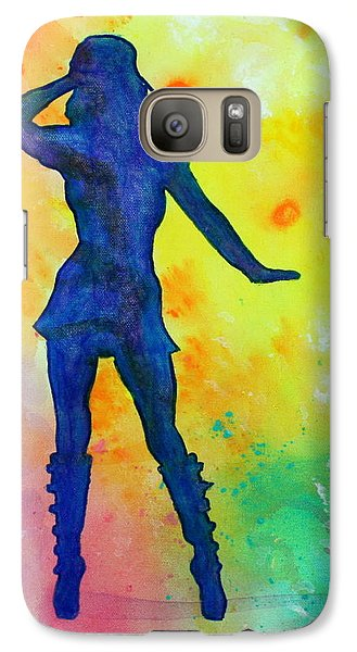 Galaxy Case featuring the painting Mod Girl Female Silhouette Abstract by Bob Baker