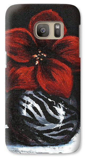Galaxy Case featuring the painting Modest Little Red Flower by Alga Washington