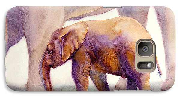 Galaxy Case featuring the painting Mom And Baby Boy Elephants by Bonnie Rinier