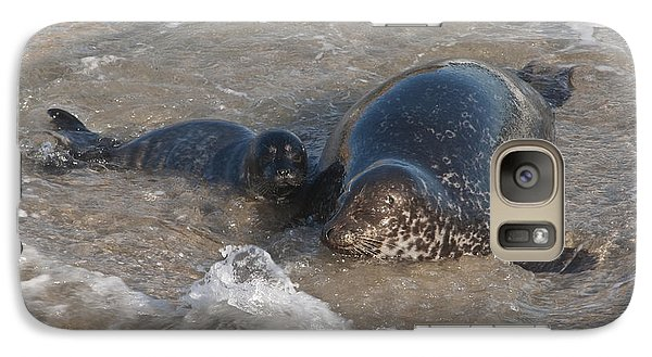 Galaxy Case featuring the photograph Mom And Baby Harbor Seal by Lee Kirchhevel