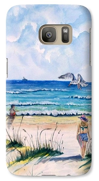 Galaxy Case featuring the painting Mom Son Beach by Richard Benson