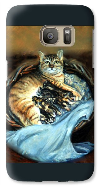 Galaxy Case featuring the painting Mom With Her Kittens by Donna Tucker