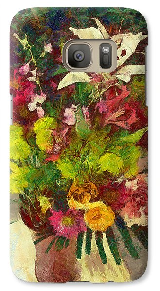 Galaxy Case featuring the digital art Mom's Flowers by Spyder Webb