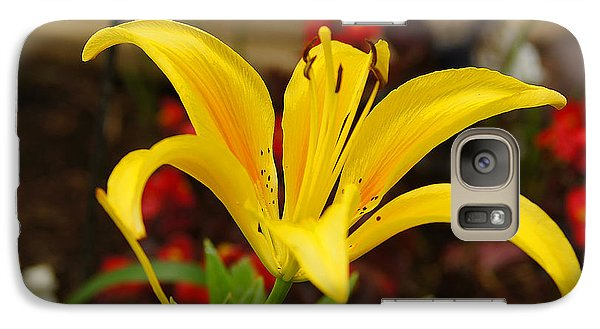 Galaxy Case featuring the pyrography Mom's Yellow Flower by B Wayne Mullins