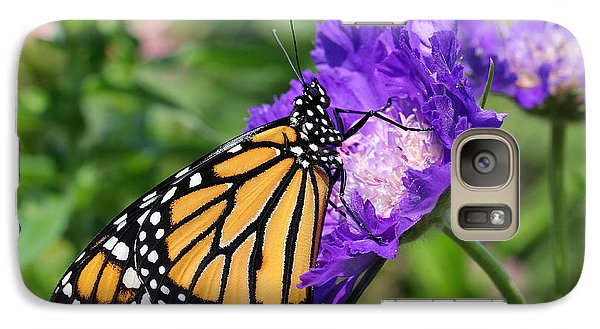 Galaxy Case featuring the photograph Monarch And Pincushion Flower by Steve Augustin