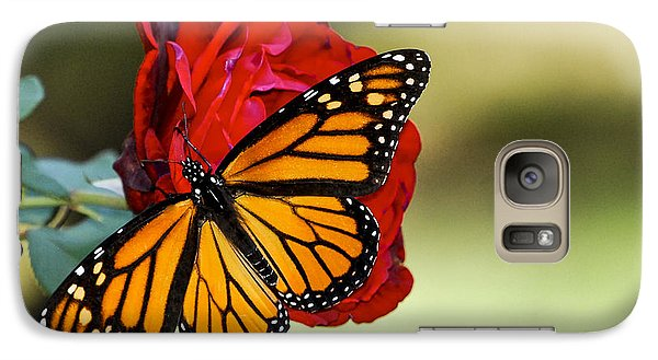 Galaxy Case featuring the photograph Monarch On Rose by Debbie Karnes