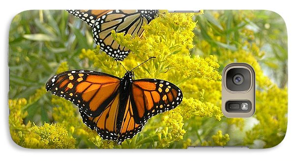 Galaxy Case featuring the photograph Monarchs On Goldenrod by Susan  Dimitrakopoulos