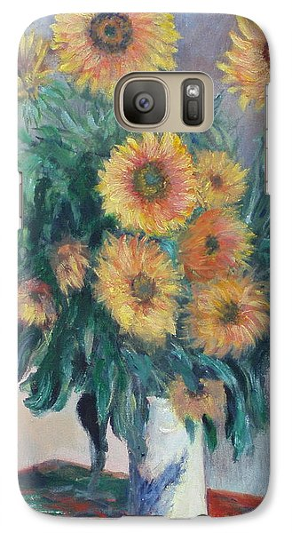 Galaxy Case featuring the painting Monet's Sunflowers by Catherine Hamill