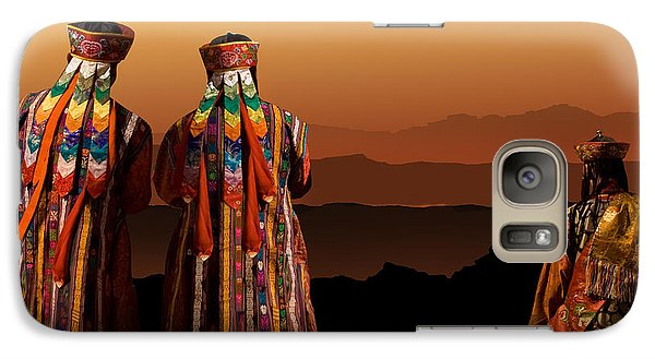 Galaxy Case featuring the digital art Monks From Bhutan by Angelika Drake