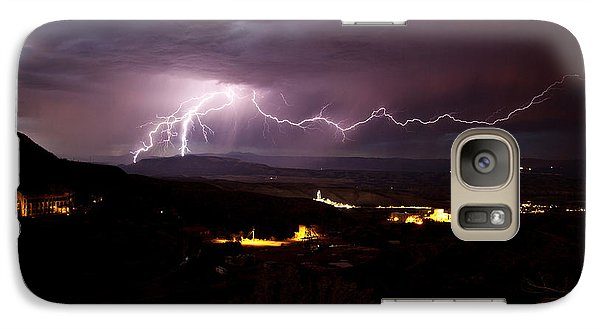 Galaxy Case featuring the photograph Monsoon Lightning In Jerome Az by Ron Chilston