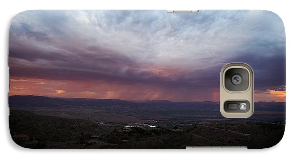 Galaxy Case featuring the photograph Monsoon Sunset With Vertical Rainbow by Ron Chilston