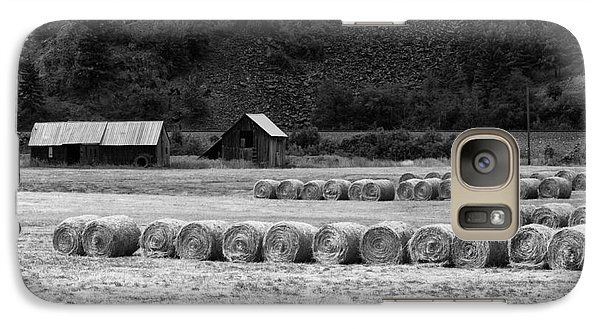 Galaxy Case featuring the photograph Montana Harvest B/w by Vinnie Oakes