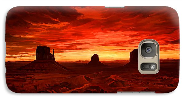 Galaxy Case featuring the painting Monument Valley Sunset by Tim Gilliland