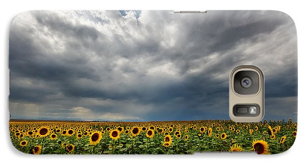 Galaxy Case featuring the photograph Moody Skies Over The Sunflower Fields by Ronda Kimbrow