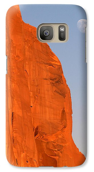 Galaxy Case featuring the photograph Moon At Monument Valley by Jeff Brunton