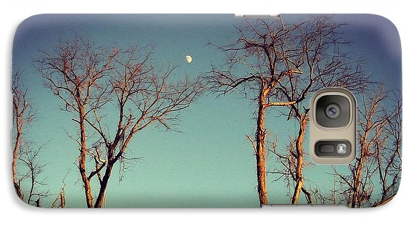 Galaxy Case featuring the photograph Moon Between The Trees by Kerri Farley