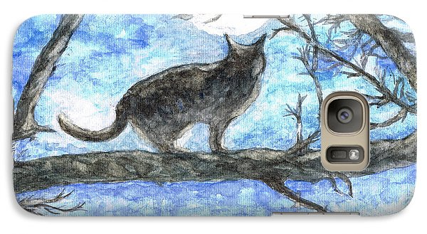 Galaxy Case featuring the painting Moon Cat by Teresa White