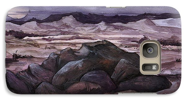 Galaxy Case featuring the painting Moon Over Desert by Mikhail Savchenko