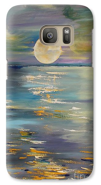 Galaxy Case featuring the painting Moon Over Your Town/reflexion by PainterArtist FIN